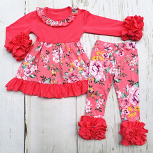 New Design Floral Kids Clothing Set Long Sleeve Ruffle Dress Icing Leggings Children's Boutique