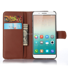 Low price china mobile phone Luxury PU Leather case lychee stand phone accessories for huawei honor 7i fast shipping