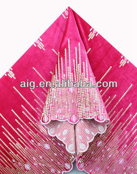 African Velvet Lace Fabric, Velvet Lace with sequins ,5984 FUSHIA