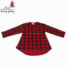 Wholesale Red and black plaid print girls high low top latest dress designs baby girl blouses