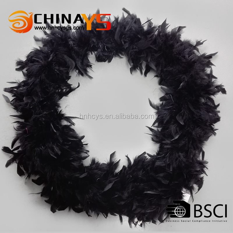 BSCI audit chandelle Turkey black feather boa solid color hot selling on promotion