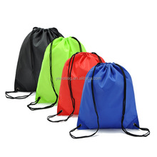 2018 factory custom promotional waterproof cheap nylon polyester drawstring bag with high quality for sports with pockets