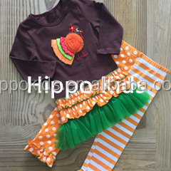 Boutique baby girl clothes orange chevron ruffled outfit toddler girl holiday gift thanksgiving girls outfits