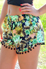 Women Summer Fashion Casual Elastic Waist Floral Print Fringe Beach Crossfit Shorts