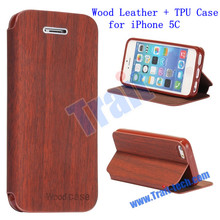 High Quality Wood Leather + TPU Case for iPhone 5C Cheap Wholesale Price