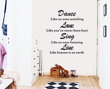 2016 ColorfulHall 100x150cm Handcraft Dancing like no one is watching Wall Decals Life Motto Dance Love Removable Wall sticker