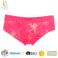 OEM fashion breathable soft silicone print seamless ladies panties for women printed briefs underwear