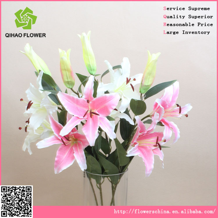 3 heads zebra tropical artificial lily flower for wedding decoration