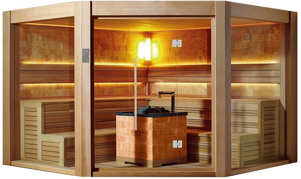 Tradicional sauna de cedro rojo sauna con harvia calentador para dise os de la casa salas de - Calentador de sauna ...