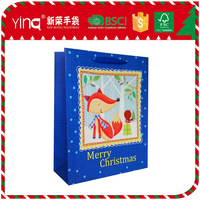 210g ivory paper paper bag products with blue satin handle