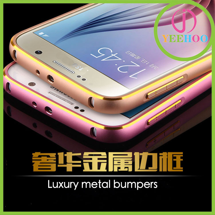 Ultra Thin Dual Color Lock Aluminum Bumper Case For galaxy s6