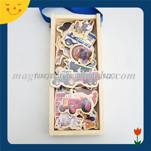 Special shaped car printing wood toy magnet