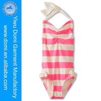 Kids Stripe Halter Maillot Very Hot Sexi Girl One Piece Swimsuit
