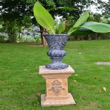 wholesale garden fiberstone urn and flower pot with pedestal