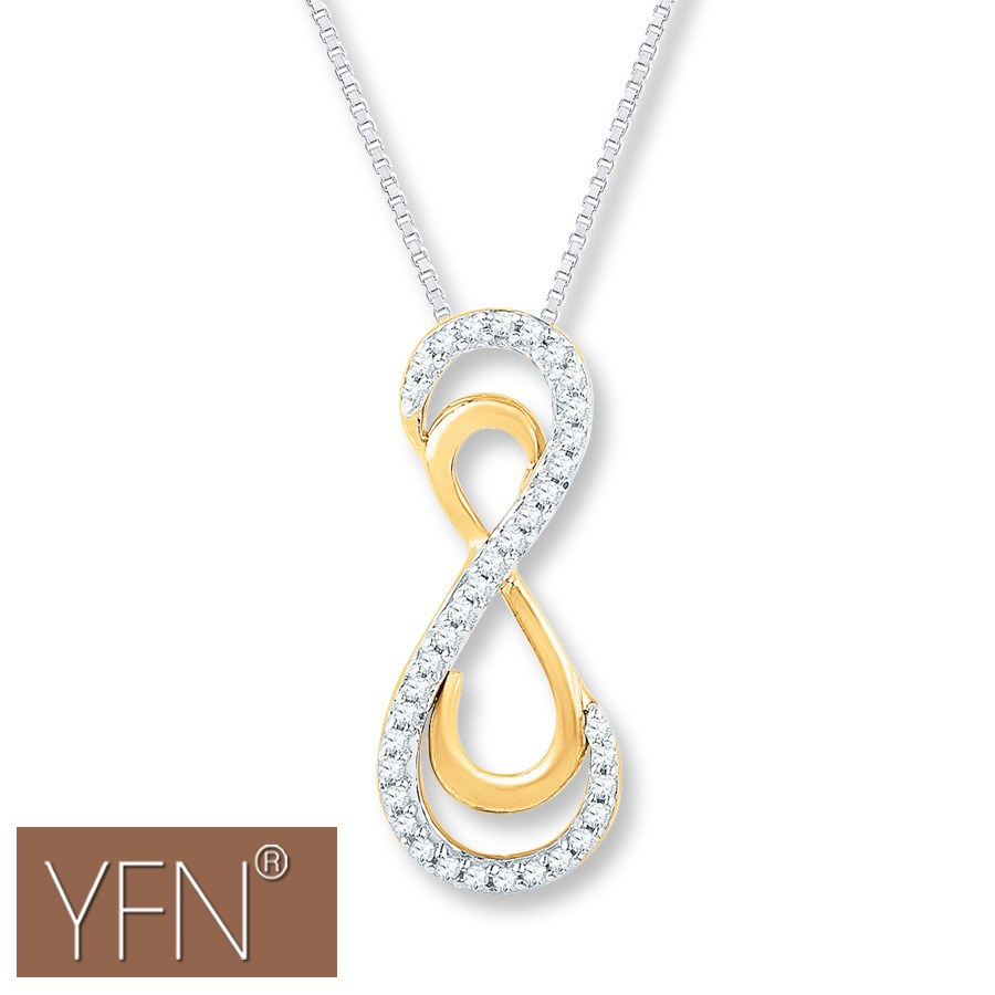 Yellow Gold Larger Infinity Symbols Eternal Love Meaningful Necklace