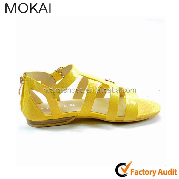 50S-12 comfortable bright yellow sandals flat t-strap shoes
