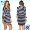 Women Elegant Fashion 3/4 Sleeve Ladies Dress Navy Striped Patchwork Ladies Skater Dress Mini Casual Dress