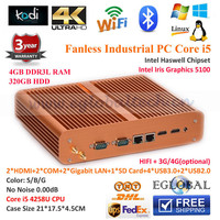 High-end Fanless Mini ITX PC Rugged Server Barebone System +4G RAM Intel Haswell Core i5 4258u Iris HD 5100 Dual Lan/SSD Storage