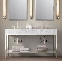 Bathroom cabinets with mirror, double bowl stainless steel sink and table top wash basin