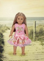"18"" American Doll Rose Pettiskirt Daddy is my Valentine Heart Pink Dress"