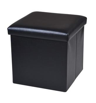 Black faux  leather folding storage footstool OEM available