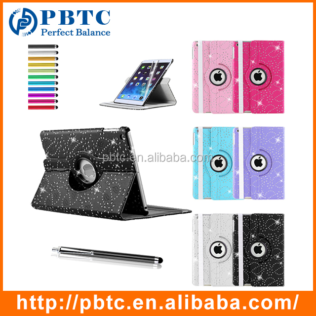 Fashion 360 Degrees Rotating Bling PU Leather Covers Wholesale For <strong>iPad</strong>