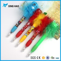 Cheap cartoon colorful proof animal plastic pen children pen with pure feather