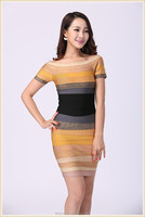 new fashion short sleeve mix color bodycon bandage dress