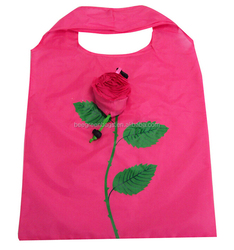 Eco colorful rose shape foldable shopping bag