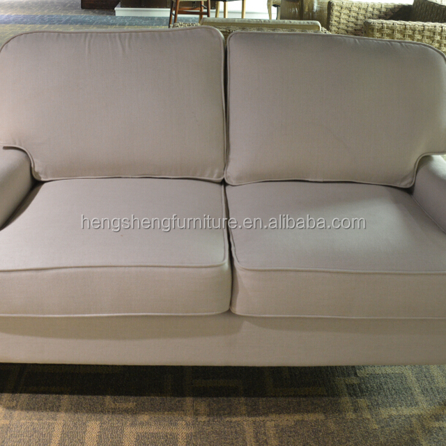 French Style Fabric Sofa Solid Wood Two Seat Chesterfield Sofa