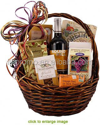 New style single cheap cheese and wine baskets gifts