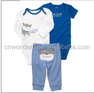 new born baby romper short/long sleeve and pant 3 pcs set baby wear bodysuit pants 100%cotton