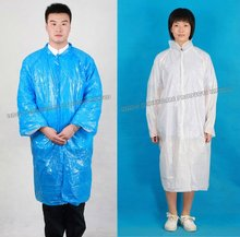 disposable plastic PE lab coat/rain coat/protect gown