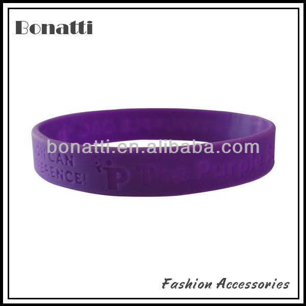 purple custom silicone rubber fundraiser bracelet