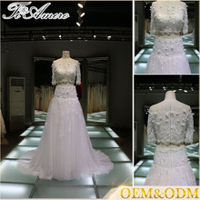 designer evening gownTrumpet wedding dresses two pieces short sleeve lace wedding gowns