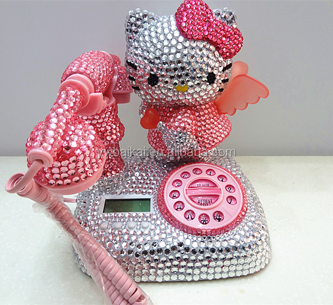 Pink Cat Telephone with crystal stone. Cartoon telephone
