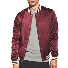 Fashion Burgundy Wine College Sateen Thick Bomber Jacket