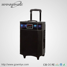 "Wooden best selling 8"" stereo mp3 trolley speaker flashing led lights with gadget technology"