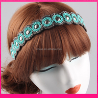 fancy charming beaded headband with elastic hair accessories girls headband