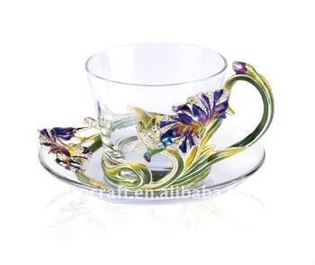 RORO enamel color Iris flower design craft coffee cup set gift coffee mug metal coffee cup