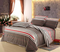 2015 Wholesale 4pcs Brown Vintage Style Bedding sets,Cotton Striped Bedding sheet set/Pillow case/Duvet cover