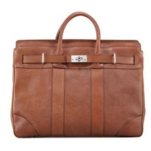 Turn-Lock Leather men's Briefcase with tonal topstitching
