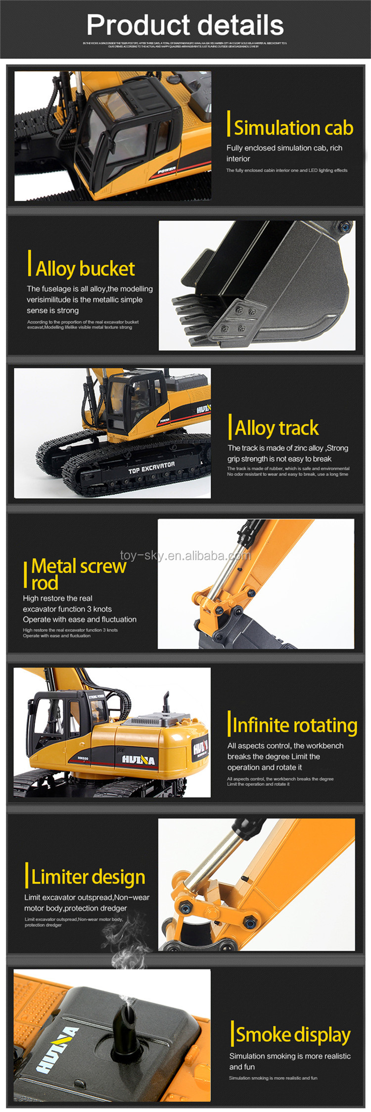Hot sale 1580 1:14 23Ch FULL ALLOY Radio Control Toys RC Huina 580 Excavator BigTrucks Full Metal for sale