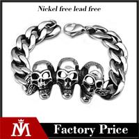 Mens Bike 316L Stainless Steel Titanium Link Chain Skull Bracelet Bangle