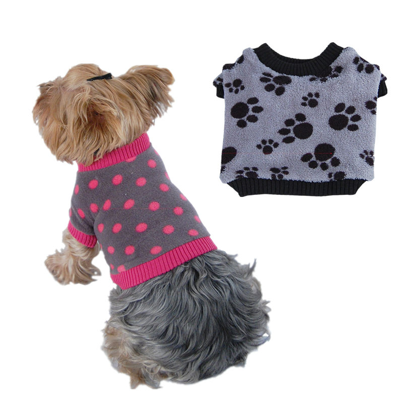 Dog Soft Fleece Leopard and paw print t shirts Pet clothes