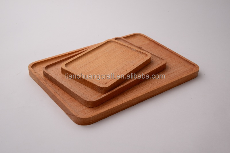 High Quality 3Sets Beech Wood Tray Wooden Plate