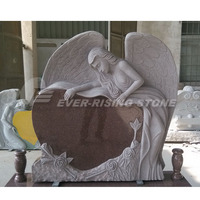 Heart Shaped Angel Headstones with Carved Roses