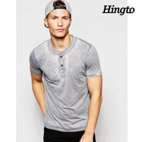 2016 latest fashion summer clothing 35% cotton 65% polyester gray two button placket t shirts wholesale