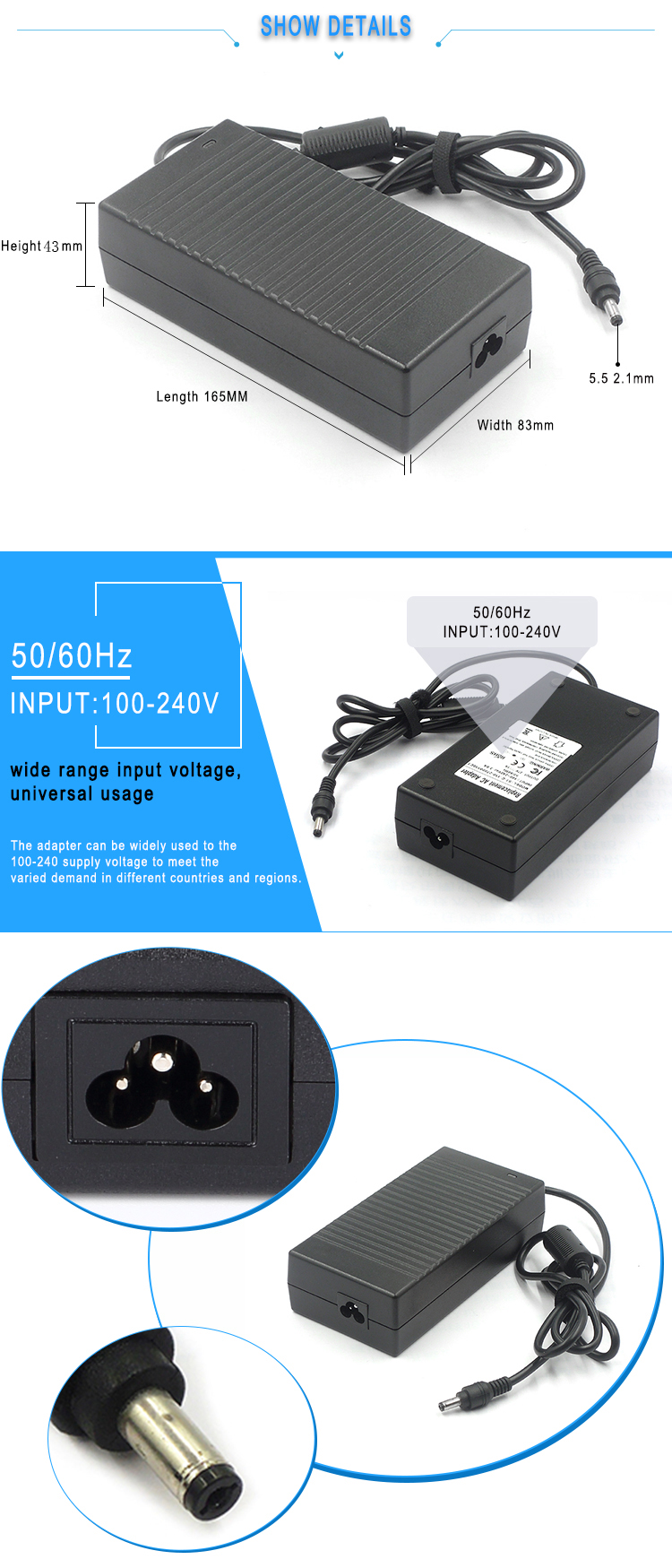 Ac dc power supply 32v 4a approved ce fcc rohs certification