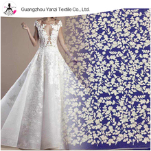 Popular fashion net design white bridal lace floral embroidered tulle fabric